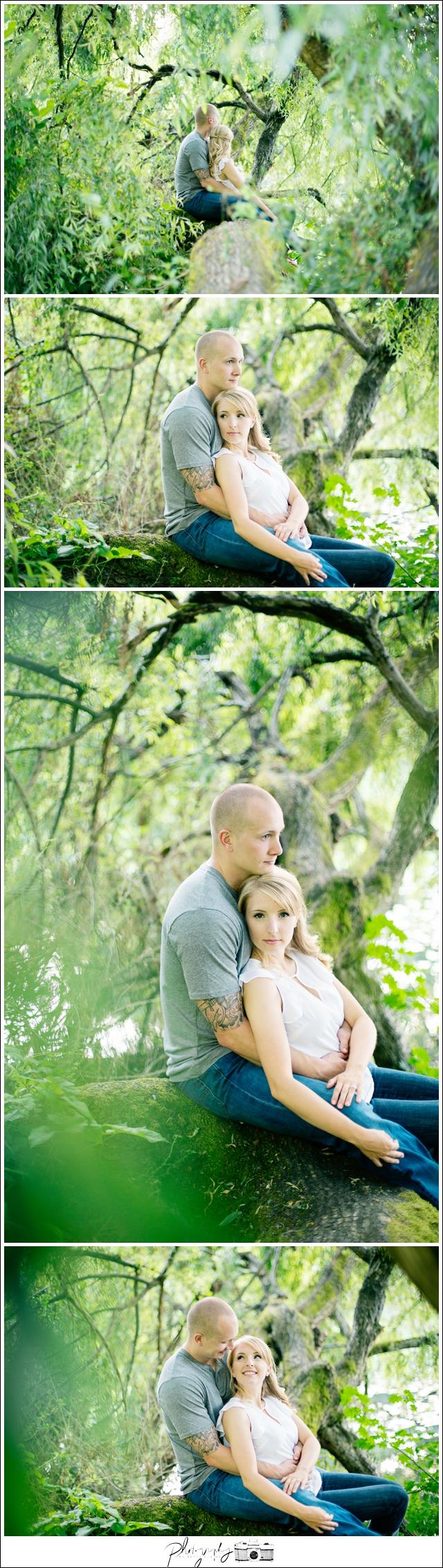 3-Washington-Park-Arboretum-willow-tree-climbing-tree-engagement-portraits-Seattle-wedding-photographer