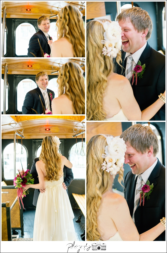 11-First-Look-Trolley-rainy-day-Bride-Groom-Laughing-Pittsburgh-Seattle-Wedding-Photography-by-Betty-Elaine