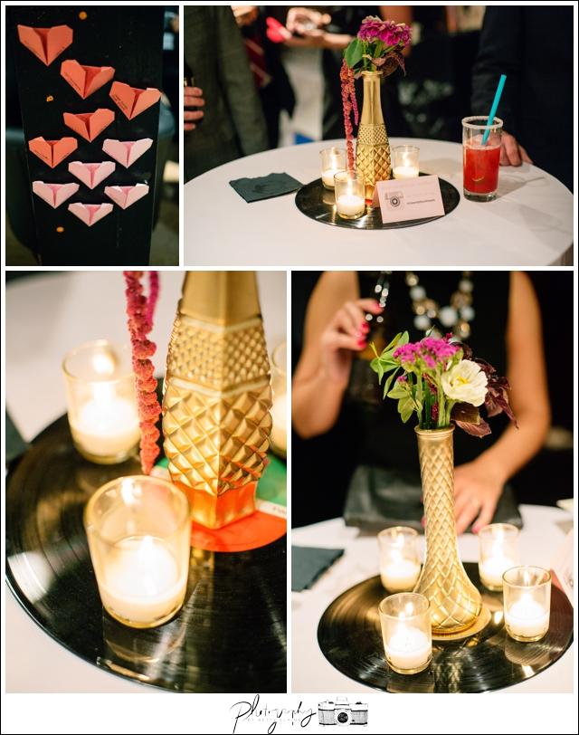 41-Reception-details-oragami-hearts-vinyl-records-centerpiece-Pittsburgh-Opera-Industrial-Romantic-Wedding-Venue-Seattle-Photographer
