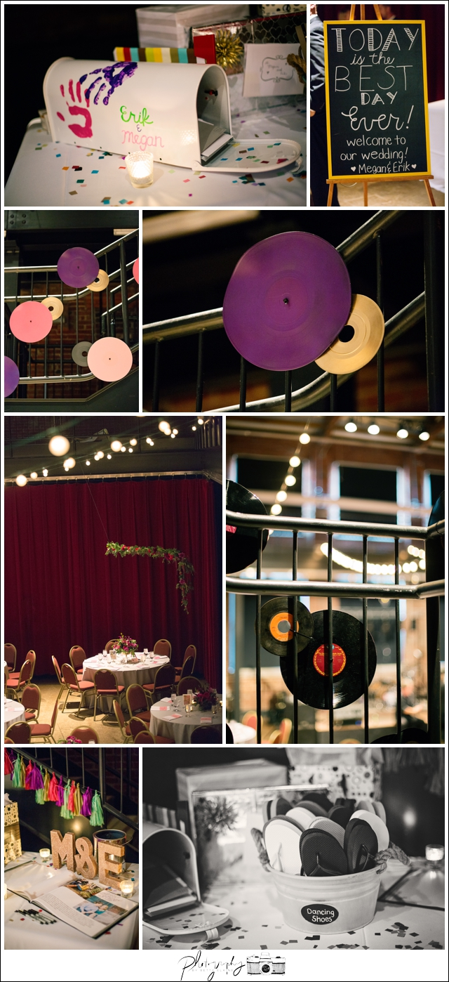 45-Reception-details-gold-glitter-initials-vinyl-records-dancing-flipflops-Pittsburgh-Opera-Industrial-Romantic-Wedding-Venue-Seattle-Photographer