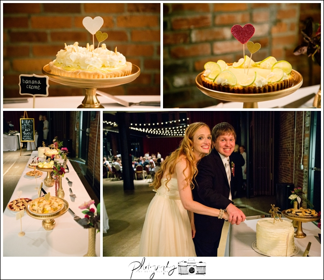 53-Reception-Best-Day-Ever-Pie-Table-Cake-Cutting-Pittsburgh-Opera-Industrial-Romantic-Wedding-Venue-Seattle-Photography-by-Betty-Elaine