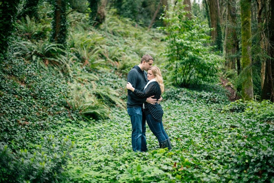 1-Engaged-Golden-Gardens-Park-Ballard-Forest-Engagement-Northwest-Woods-Rainy-Seattle-Photographer-Wedding-Photography-by-Betty-Elaine