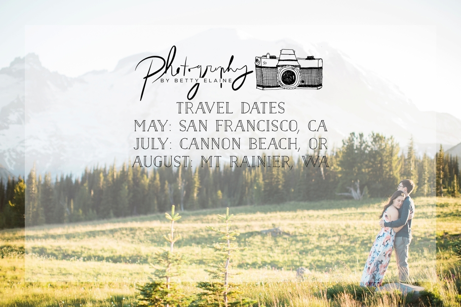 1-Travel-dates-PNW-Photography-San-Francisco-Cannon-Beach-Muir-Woods-Mt-Rainier-West-Coast-Tour-Wedding-Photographer