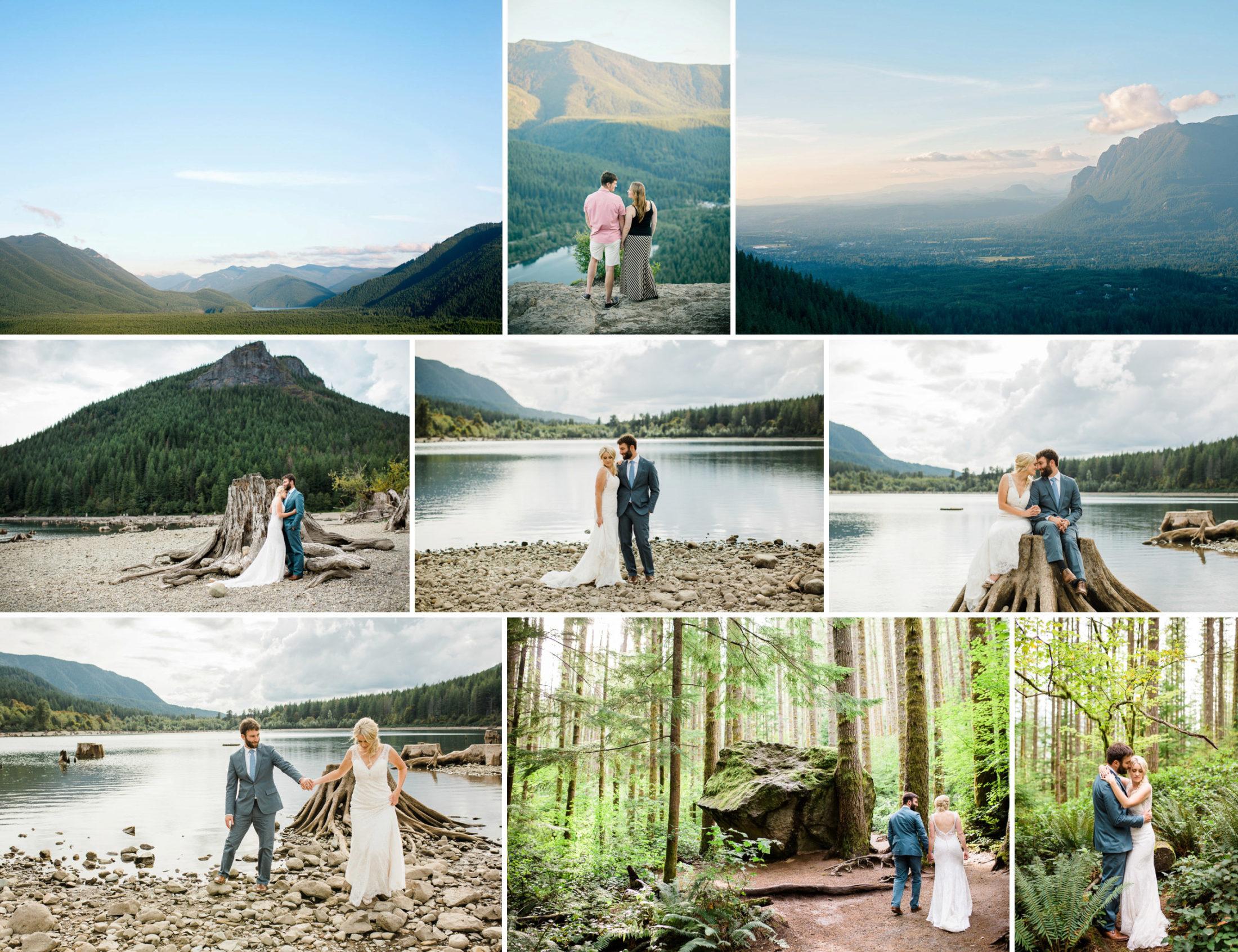 Best places to elope near Seattle. Rattlesnake Ledge, hiking adventure wedding photography.