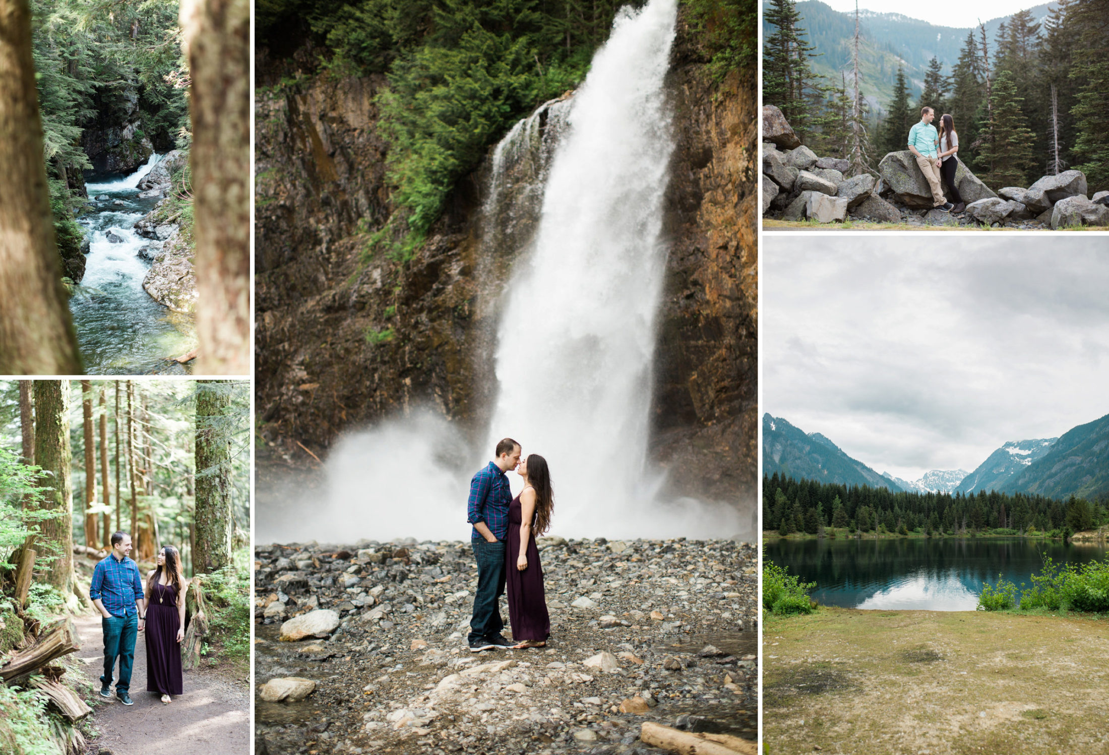 Best places to elope near Seattle. Franklin Falls, Gold Creek Pond hiking trail. Waterfall Snoqualmie Pass adventure wedding photography.