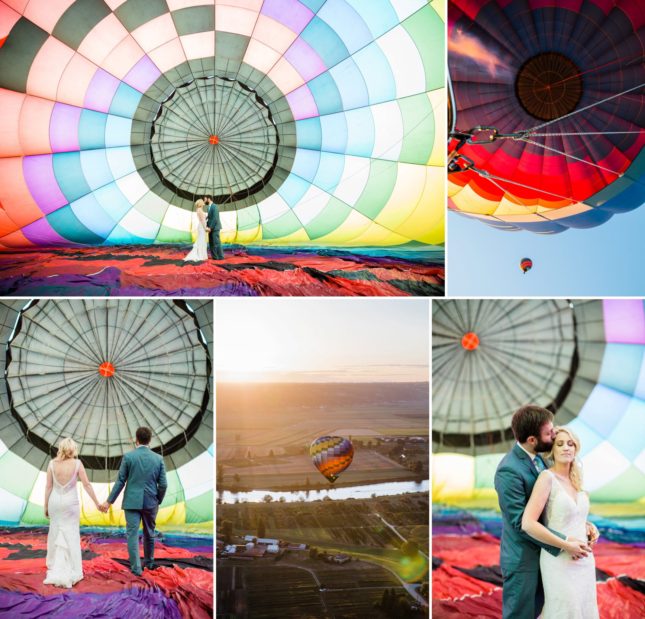 Best places to elope near Seattle. Snohomish Hot air balloon adventure wedding photography.
